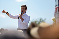 2020 Democratic Presidential Hopeful Peter Buttigieg speaks at the Des Moines Register Political Soapbox as he tours the Iowa State Fair in Des Moines, Iowa on August 13, 2019. Credit: Alex Edelman / CNP /MediaPunch