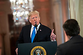 United States President Donald J. Trump argues with CNN reporter Jim Acosta during a news conference in the East Room, on Wednesday, Nov. 7, 2018 at the White House in Washington, D.C. <br /> Credit: Al Drago / Pool via CNP