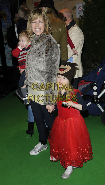 "KATE GARRAWAY, son Billy & Daughter Darcey .""Yogi Bear"" UK film premiere gala screening, Vue cinema, Leicester Square London, England, UK, .February 6th 2011..arrivals full length children kids red dress family grey gray fur coat jacket jeans trainers baby .CAP/CAN.©Can Nguyen/Capital Pictures."