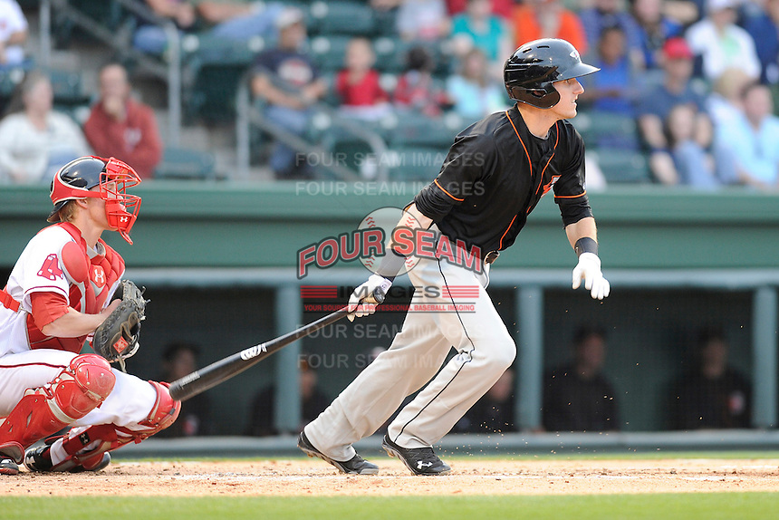 Catcher Chase Weems (8) of the Delmarva Shorebirds bats in a game against the Greenville Drive on Friday, April 26, 2013, at Fluor Field at the West End in Greenville, South Carolina. Delmarva won, 10-3. (Tom Priddy/Four Seam Images)
