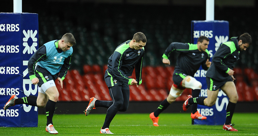Wales' George North and fellow Wales team mates during todays Wales training session<br /> <br /> Photographer Craig Thomas/CameraSport<br /> <br /> International Rugby Union - 2015 RBS 6 Nations Championship - Wales Training Session - Friday 13th March 2015 - Millennium Stadium - Cardiff<br /> <br /> &copy; CameraSport - 43 Linden Ave. Countesthorpe. Leicester. England. LE8 5PG - Tel: +44 (0) 116 277 4147 - admin@camerasport.com - www.camerasport.com