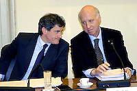 Rome May 7 2008.Provincial committee for the Order and Security.The mayor of Rome Gianni Alemanno  with  the Prefect of Rome Carlo Mosca