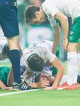***BETALBILD***  <br /> Stockholm 2015-09-27 Fotboll Allsvenskan Hammarby IF - AIK :  <br /> Hammarbys Erik Israelsson har skadat sig efter sitt 1-0 m&aring;l under matchen mellan Hammarby IF och AIK <br /> (Foto: Kenta J&ouml;nsson) Nyckelord:  Fotboll Allsvenskan Tele2 Arena Hammarby HIF Bajen AIK Derby skada skadan ont sm&auml;rta injury pain
