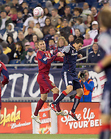 Real Salt Lake defender Chris Wingert (17) and New England Revolution forward Marko Perovic (29) battle for head ball. Real Salt Lake defeated the New England Revolution, 2-1, at Gillette Stadium on October 2, 2010.