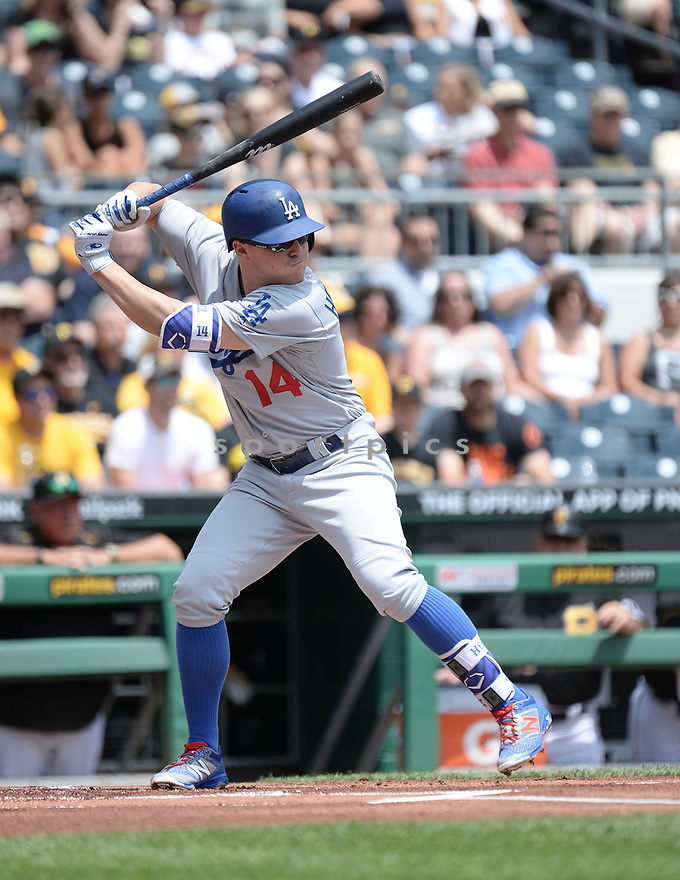Los Angeles Dodgers Enrique Hernandez (14) during a game against the Pittsburgh Pirates on June 27, 2016 at PNC Park in Pittsburgh, PA. The Dodgers beat the Pirates 4-3.