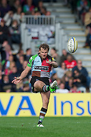 Nick Evans of Harlequins takes a drop kick to re-start the match during the Aviva Premiership match between Harlequins and Saracens at the Twickenham Stoop on Sunday 30th September 2012 (Photo by Rob Munro)
