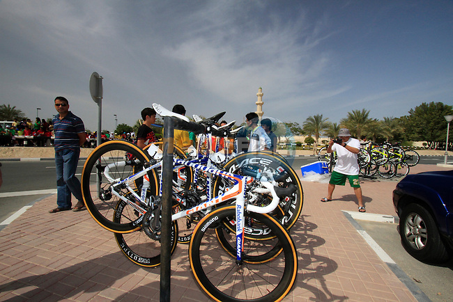 Robobank Giant bikes lined up before the start of the 3rd Stage of the 2012 Tour of Qatar outside Dukhan Souq, Dukhan, Qatar, 7th February 2012 (Photo Eoin Clarke/Newsfile)