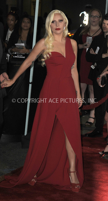WWW.ACEPIXS.COM<br /> <br /> October 3 2015, LA<br /> <br /> Actress/singer Lady Gaga arriving at the premiere of FX's 'American Horror Story: Hotel' at the Regal Cinemas L.A. Live on October 3, 2015 in Los Angeles, California.<br /> <br /> <br /> By Line: Peter West/ACE Pictures<br /> <br /> <br /> ACE Pictures, Inc.<br /> tel: 646 769 0430<br /> Email: info@acepixs.com<br /> www.acepixs.com