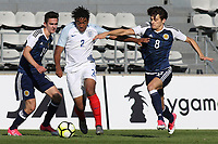 Reece James of England tries to shake off a challenge from Scotland's Kyle MaGennis during England Under-18 vs Scotland Under-20, Toulon Tournament Semi-Final Football at Stade Parsemain on 8th June 2017