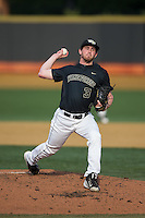 Wake Forest Demon Deacons starting pitcher Connor Johnstone (3) in action against the Clemson Tigers at David F. Couch Ballpark on March 12, 2016 in Winston-Salem, North Carolina.  The Tigers defeated the Demon Deacons 6-5.  (Brian Westerholt/Four Seam Images)