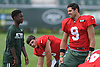 Bryce Petty #9, New York Jets quarterback, stretches during the start of a day of team training camp at Atlantic Health Jets Training Center in Florham Park, NJ on Thursday, Aug. 4, 2016.