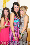 Niamh Tynan, Gemma O'Regan and Marie Russell pictured at Causeway Comprehensive Debs Ball at the Ballyroe Heights hotel on Thursday.