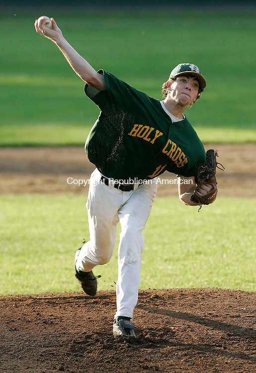 BRISTOL, CT - 07 June 2005 -060705BZ06- Holy Cross #11, Tyler King fires to the mound against Sheehan during the class M semifinal at Muzzy Field Tuesday night.<br /> Jamison C. Bazinet Photo