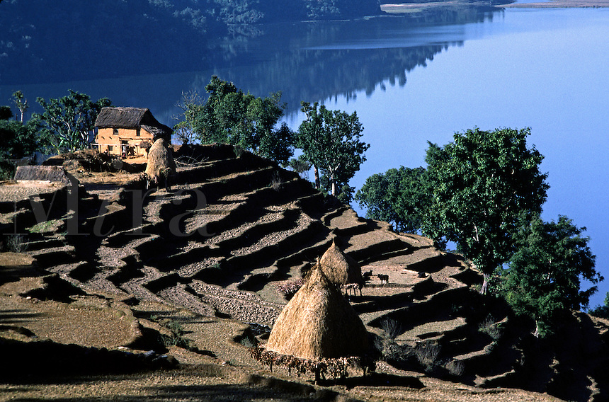 Wular lake and terraced hillside near Pokhara - SIKLIS TREK, NEPAL