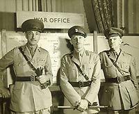 BNPS.co.uk (01202 558833)<br /> Pic: MitchellsAuctionHouse/BNPS<br /> <br /> PICTURED: Colonel Vassal Charles Steer-Webster OBE (middle)<br /> <br /> The fascinating archive of one of the engineers who designed the Mulberry Harbours which were installed off the Normandy coast following the D-Day landings has come to light.<br /> <br /> Colonel Vassal Charles Steer-Webster OBE helped create the giant, floating artificial harbours which protected anchored supply ships from German attacks.<br /> <br /> They were built in the dry docks on The Thames and Clyde and pulled across the channel by tugs before being hastily assembled.<br /> <br /> Col Steer-Webster was in almost daily contact with Churchill during their development ahead of June 6, 1944. Now, his personal effects, including a letter of thanks from Winston Churchill, are being sold by his nephew with Mitchells Auctioneers, of Cockermouth, Cumbria. <br /> <br /> The archive, which is expected to fetch £15,000, also features 150 photos showing Mulberry B's construction and use, as well as his medals.