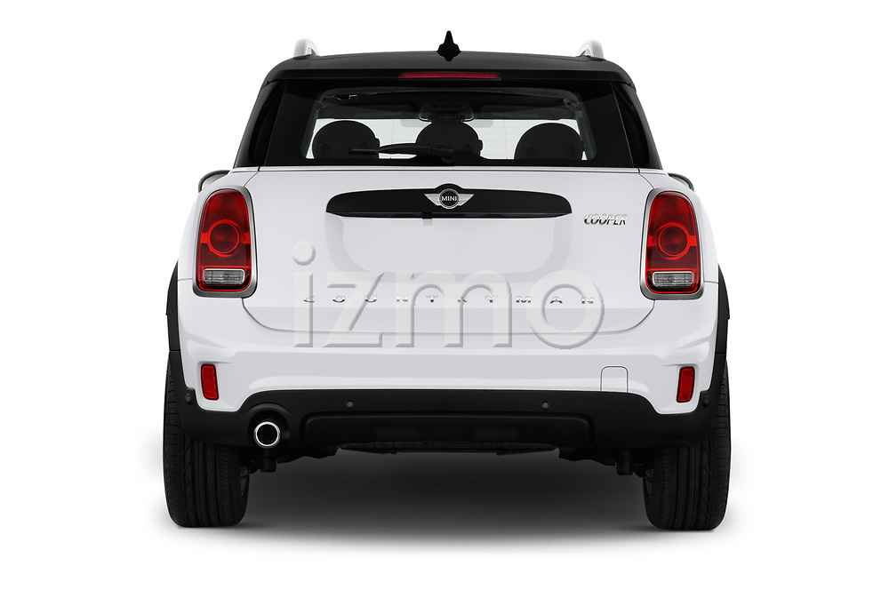 Straight rear view of 2019 MINI Countryman 5-Door 5 Door Hatchback Rear View  stock images