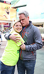 Laura Heywood, aka @BroadwayGirlNYC, with Michael Park attends Big Hug Day: Broadway comes together to spread kindness and raise funds for Children's Hospitals on January 21, 2018 at Duffy Square, Times Square in New York City.