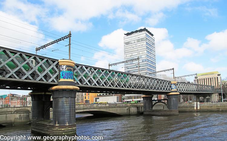 Loopline rail bridge or Liffey viaduct spanning river from Pearse railway station, Dublin, Ireland, built 1891 designed by John Chaloner Smith