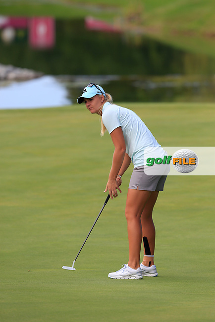 Anna Nordqvist (SWE) putts on the 5th green during Sunday's Final Round of the LPGA 2015 Evian Championship, held at the Evian Resort Golf Club, Evian les Bains, France. 13th September 2015.<br /> Picture Eoin Clarke | Golffile