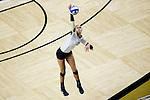 Kylie Long (12) of the Wake Forest Demon Deacons attacks the ball during the match against the Loyola Ramblers in the LJVM Coliseum on September 3, 2016 in Winston-Salem, North Carolina.  The Ramblers defeated the Demon Deacons 3-2.   (Brian Westerholt/Sports On Film)