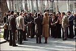 The Shah and Empress Farah Diba meet the press on the grounds of Niavaran Palace. Tehran, January 1, 1979.