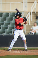 Travis Moniot (9) of the Kannapolis Intimidators at bat against the Delmarva Shorebirds at Kannapolis Intimidators Stadium on May 19, 2019 in Kannapolis, North Carolina. The Shorebirds defeated the Intimidators 9-3. (Brian Westerholt/Four Seam Images)