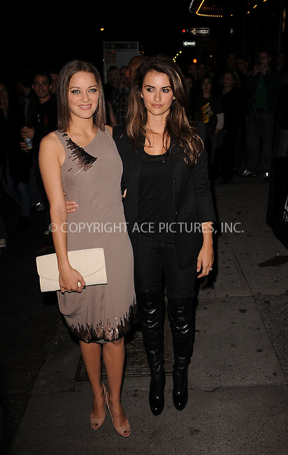WWW.ACEPIXS.COM . . . . . ....November 15 2009, New York City....Actresses Marion Cotillard and Penelope Cruz arriving at The Cinema Society & A Diamond Is Forever screening of 'The Private Lives Of Pippa Lee' at AMC Loews 19th Street on November 15, 2009 in New York City.....Please byline: KRISTIN CALLAHAN - ACEPIXS.COM.. . . . . . ..Ace Pictures, Inc:  ..(212) 243-8787 or (646) 679 0430..e-mail: picturedesk@acepixs.com..web: http://www.acepixs.com