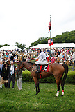 USA, Tennessee, Nashville, Iroquois Steeplechase, jockey Brian Crowley Arcadia have their photo taken after their win