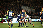 29th September 2017, Sixways Stadium, Worcester, England; Aviva Premiership Rugby, Worcester Warriors versus Saracens; Nick Tompkins of Saracens braces himself for a challenge