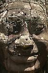 Cite fortifiee d'Angkor Thom. Temple  Bayon orne de 216 visages monumentaux de Lokesvara (nom d un bodhisattva) au sourire enigmatique. Cambodge