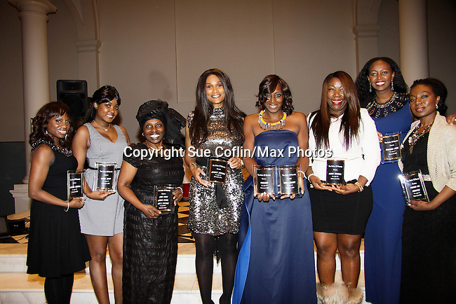 Delaina Dixon - Kimmie Smith - Alexandreena Dixon - Beverly Johnson - Bisila Bokoko - Karen Mitchell -  Siamanda Chege - Maureen Tokeson-Martin all honored at Color of Beauty Awards honoring supermodel Beverly Johnson on February 4, 2014 at Holy Apostles, New York City, New York. (Photo by Sue Coflin/Max Photos)