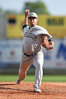 Beloit Snappers pitcher Tyler Vail (36) delivers a pitch during a game against the Clinton LumberKings on August 17, 2014 at Ashford University Field in Clinton, Iowa.  Clinton defeated Beloit 4-3.  (Mike Janes/Four Seam Images)