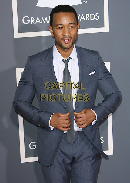 JOHN LEGEND.The 53rd Annual GRAMMY Awards held at the Staples Center, Los Angeles, California, USA..February 13th, 2011.arrivals grammys half length grey gray blue suit white shirt tie.CAP/ADM.©AdMedia/Capital Pictures.