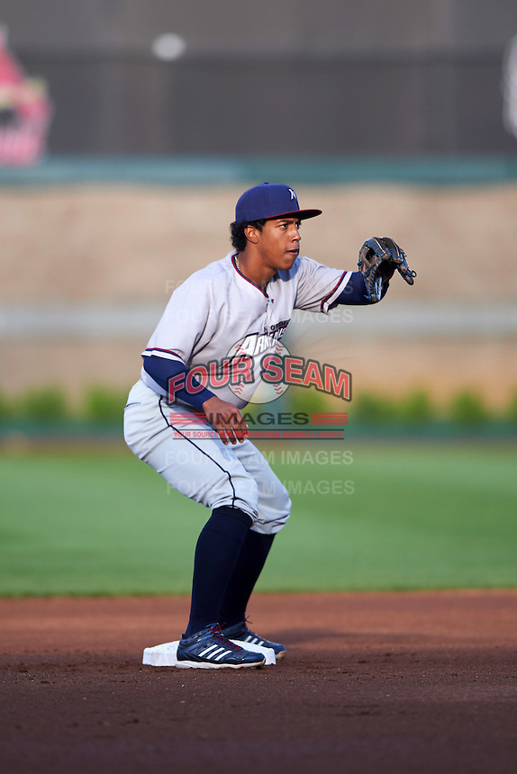 Northwest Arkansas Naturals second baseman Raul Mondesi (27) waits for a throw in between innings during a game against the Springfield Cardinals on April 26, 2016 at Hammons Field in Springfield, Missouri.  Northwest Arkansas defeated Springfield 5-2.  (Mike Janes/Four Seam Images)