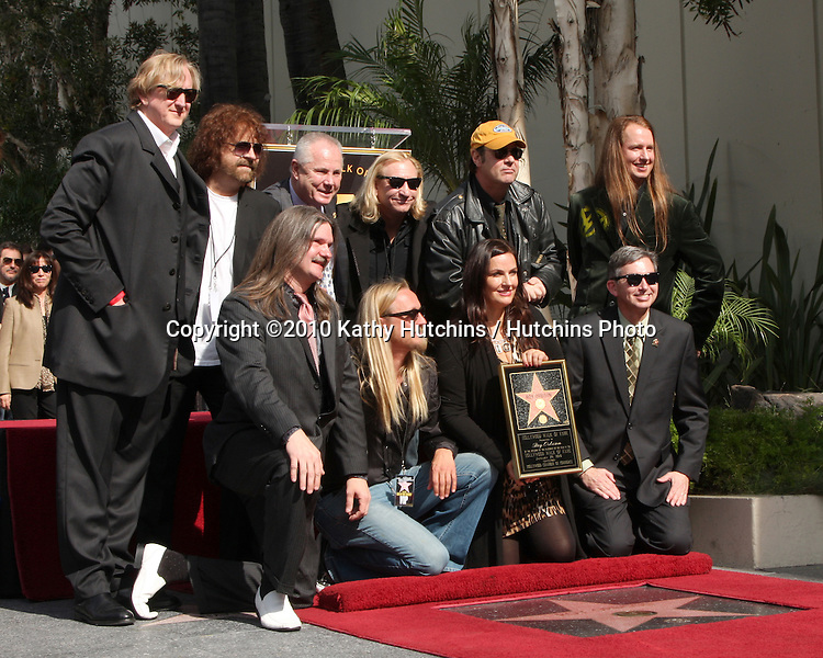 Barbara Orbison (2nd R), wife of late singer Roy Orbison, and his sons Wesley (L), Alex (2nd L) and Roy Orbison Jr (R), with freinds TB Bennett, Dan Akroyd, others.Hollywood Walk of Fame Star Ceremony for Roy Orbison .Capitol Records building.Los Angeles, CA.January 29, 2010.©2010 Kathy Hutchins / Hutchins Photo....