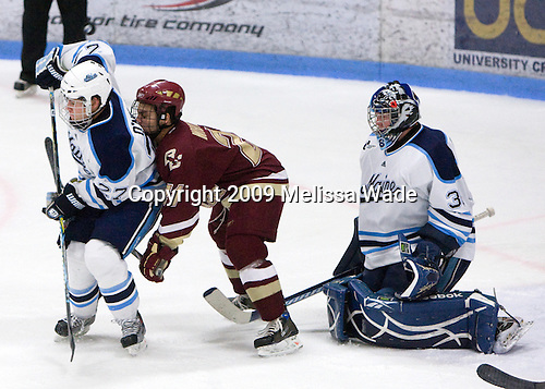Will O'Neill (Maine - 27), Steven Whitney (BC - 21), Scott Darling (Maine - 38) - The Boston College Eagles and University of Maine Black Bears tied 3-3 (OT) on Saturday, November 21, 2009, at Alfond Arena in Orono, Maine.
