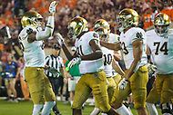 Blacksburg, VA - October 6, 2018: Notre Dame Fighting Irish wide receiver Miles Boykin (81) celebrates with teammates after scoring a touchdown during the game between Notre Dame and VA Tech at  Lane Stadium in Blacksburg, VA.   (Photo by Elliott Brown/Media Images International)