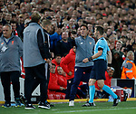 As he is sent off Eduardo Berizzo manager of Sevilla reacts to Jurgen Klopp manager of Liverpool during the Champions League Group E match at the Anfield Stadium, Liverpool. Picture date 13th September 2017. Picture credit should read: Simon Bellis/Sportimage