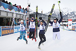10/12/2017, Hochfilzen - IBU World Cup Biathlon 2018.<br /> Biathlon Women 4 x 6 km  race in Hochfilzen, Austria on December 10, 2017; France's Marie Dorin Habert, Celia Aymonier, Justine Braisaz, Anais Bescond