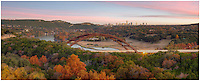 The 360 Bridge is an Austin, Texas, icon. I always try to make my way over here at least one evening each fall. It seems you have about a week long windo where the trees are really lit up with Autumn colors. I try to wait until the clouds are proper for a good overall sky. This panorama image comes from one fair evening in late November when everything seemed to work just right. In the distance you can see the Austin skyline. In the foreground, the iconic bridge with the cool waters of the Colorado River beneath it.