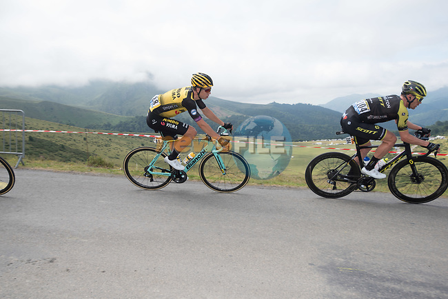 Michael Hepburn (AUS) Mitchelton-Scott and Wout Van Aert (BEL) Team Jumbo-Visma descend Horquette d'Ancizan during Stage 12 of the 2019 Tour de France running 209.5km from Toulouse to Bagneres-de-Bigorre, France. 18th July 2019.<br /> Picture: KARLIS | Cyclefile<br /> All photos usage must carry mandatory copyright credit (© Cyclefile | KARLIS)