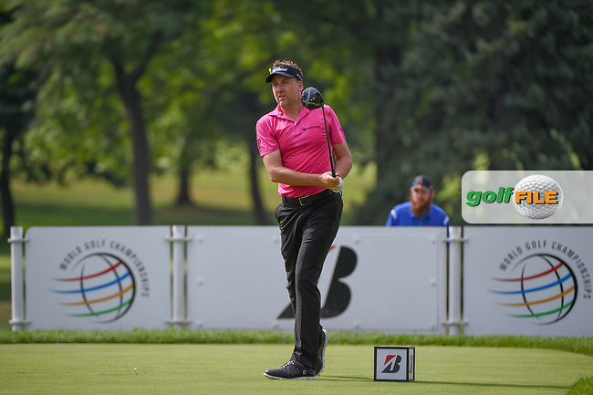 Ian Poulter (GBR) watches his tee shot on 3 during 2nd round of the World Golf Championships - Bridgestone Invitational, at the Firestone Country Club, Akron, Ohio. 8/3/2018.<br /> Picture: Golffile | Ken Murray<br /> <br /> <br /> All photo usage must carry mandatory copyright credit (© Golffile | Ken Murray)
