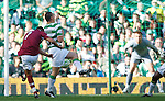 Suso Santana launches the ball at Artur Boruc for Hearts to score