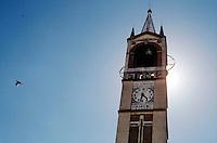 Milano,campanile della chiesa alla località di Figino, periferia nord - ovest. --- Milan, bell tower of the church in the locality of Figino, north - west periphery.