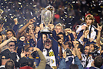 20 November 2011: Galaxy head coach Bruce Arena holds the Philip F. Anschutz Trophy overhead. The Los Angeles Galaxy defeated the Houston Dynamo 1-0 at the Home Depot Center in Carson, CA in MLS Cup 2011, Major League Soccer's championship game.