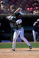 Lake Elsinore Storm first baseman Olivier Basabe (9) during a California League game against the Inland Empire 66ers on April 14, 2019 at The Diamond in Lake Elsinore, California. Lake Elsinore defeated Inland Empire 5-3. (Zachary Lucy/Four Seam Images)