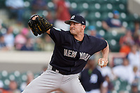 New York Yankees relief pitcher Rex Brothers (55) delivers a pitch during a Grapefruit League Spring Training game against the Detroit Tigers on February 27, 2019 at Publix Field at Joker Marchant Stadium in Lakeland, Florida.  Yankees defeated the Tigers 10-4 as the game was called after the sixth inning due to rain.  (Mike Janes/Four Seam Images)
