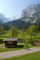 CHE, SCHWEIZ, Kanton Bern, Berner Oberland, Rosenlauital: Radfahrer bei Abfahrt von der Grossen Scheidegg | CHE, Switzerland, Bern Canton, Bernese Oberland, Rosenlaui valley: cyclist downhill from Grosse Scheidegg