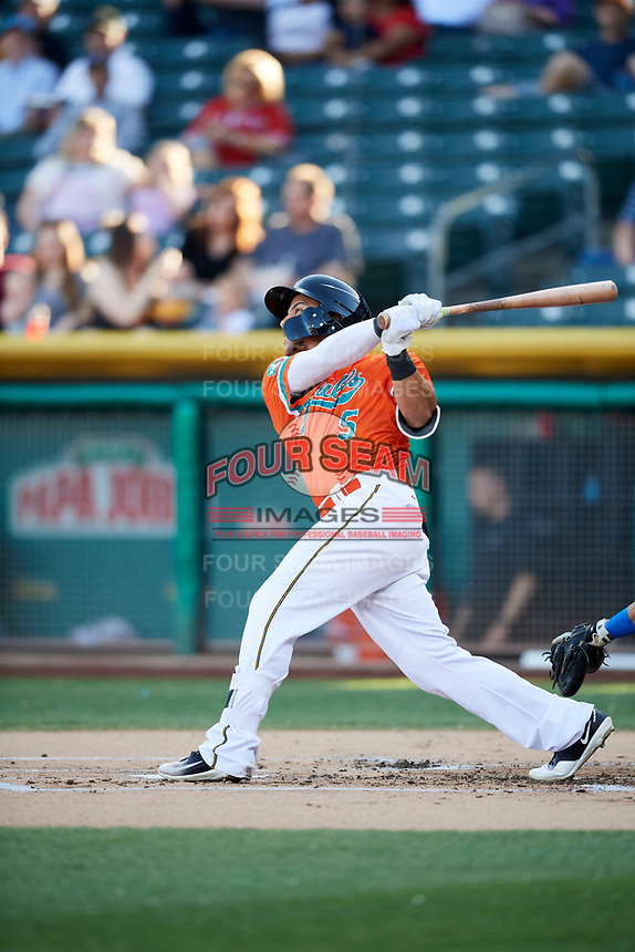 Michael Hermosillo (5) of the Salt Lake Bees bats against the Las Vegas 51s at Smith's Ballpark on May 7, 2018 in Salt Lake City, Utah. The 51s defeated the Bees 10-8. (Stephen Smith/Four Seam Images)