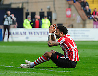 Lincoln City's Bruno Andrade reacts after his appeal for a penalty was turned down<br /> <br /> Photographer Chris Vaughan/CameraSport<br /> <br /> The EFL Sky Bet League Two - Lincoln City v Macclesfield Town - Saturday 30th March 2019 - Sincil Bank - Lincoln<br /> <br /> World Copyright © 2019 CameraSport. All rights reserved. 43 Linden Ave. Countesthorpe. Leicester. England. LE8 5PG - Tel: +44 (0) 116 277 4147 - admin@camerasport.com - www.camerasport.com